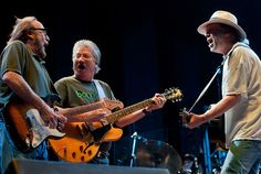 Neil Young, Stephen Stills, and Richie Furay of Buffalo Springfield perform during the Bonnaroo Music And Arts Festival in Manchester, Tennessee.