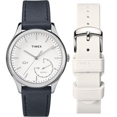 Timex Women's IQ+ Move Activity Tracker Black Leather Strap Watch Set With Extra White Silicone Strap (Mid Size, Mid Size, Black/White), Silver-Tone - Size: One Size Fits All Activity Tracker Watch, Best Smart Watches, Timex Watches, Black Leather Watch, Online Watch Store, Sport, Gifts For Wife, Smartwatch, Watches For Men