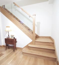 Oak Stairs in Ireland by Connolly Stairs Dublin, Irish owned and made Quality Stairs. Stairs And Staircase, Oak Stairs, Staircase Design, Staircases, Types Of Stairs, Architecture Details, Ireland, Shelves, Glass