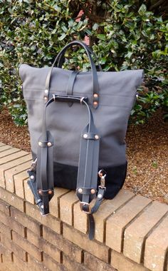 Waxed Canvas Roll Top Rucksack Backpack Option - Leather Straps/Handles/ Waxed Canvas Bag -Large Gray and Black Bag Perfect for Traveling