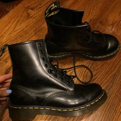 Black Dr. Martens boots 8 Worn once. Practically brand new Dr. Martens Shoes Combat & Moto Boots