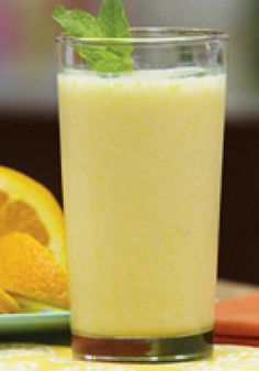 Citrus Explosion Smoothie  (1/2 cup  fat-free milk 1 container  (6 oz.) lemon low-fat yogurt 2  navel oranges, sectioned 1  fully ripe banana 1 pkt.  (0.14 oz.) CRYSTAL LIGHT On The Go Lemonade Flavor Drink Mix 1 cup  ice cubes)