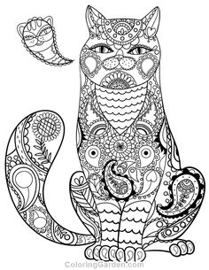 Free Printable Paisley Cat Adult Coloring Page Download It In PDF Format At