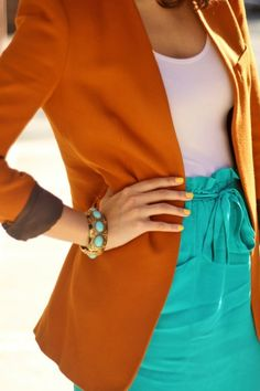 burnt orange blazer - love burnt orange and turquoise together! Color Pairing, Color Combinations, Mode Style, Style Me, Casual Chic, High Fashion, Womens Fashion, Fashion Tips, Fashion Fall