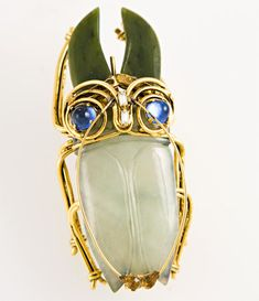 White and Green Jade Beetle Brooch by Iradj Moini, United States, 1980's