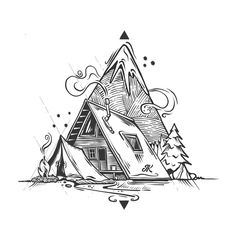 Ideas Tattoo Mountain Back Posts For 2019 Ink Illustrations, Art Drawings Sketches, Doodle Art, Stylo Art, Tattoo Son, Nature Drawing, Mountain Tattoo, Pen Art, Tattoo Designs
