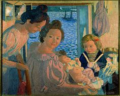 Maternity at Pouldu, in the Evening (Maternit au Pouldu, le Soir) c. 1899 Maurice Denis Oil on cardboard Private Collection Stock Photo Maurice Denis, Avant Garde Artists, Edouard Vuillard, Fauvism, Religious Art, Impressionist, Royalty Free Images, Artworks, Abstract Art