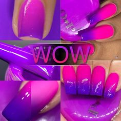 P.O.P WOW Neon Thermal Cream Collection Purple Pink Nail   Etsy Purple And Pink Nails, Pink Ombre Nails, Neon Nails, Yellow Nails, Neon Purple, Zebra Nails, Bling Nails, Bright Summer Acrylic Nails, Purple Acrylic Nails