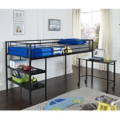 Shop Walker Edison BTLD46SPBL Loft Bed with Desk and Shelves at The Mine. Browse our bunk beds, all with free shipping and best price guaranteed.