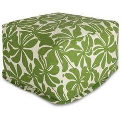 Majestic Home Goods Plantation Bean Bag Ottoman, Indoor/Outdoor, Green