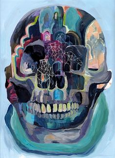 Kimi Pryor - Anxious Skull, Gouache on Paper, 2014