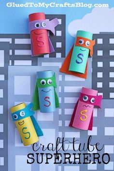 """Cardboard Craft Tube Superheroes - Kid Craft Tutorial - - We want you to fight the crime of """"boredom"""" with us today! Check out our creative Craft Tube Superhero kid craft idea tutorial! Paper Roll Crafts, Glue Crafts, Cardboard Crafts, Craft Stick Crafts, Paper Craft, Craft Ideas, Play Ideas, Rock Crafts, Superhero Classroom"""