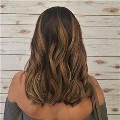 Warm Caramel Honey Balayage on shoulder length hair
