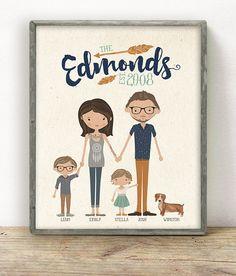 Benutzerdefinierte illustriert Hipster Family Portrait • Muttertag Geschenk Geschenk für Mama Papa Eltern • Fun Einmaliges Geschenk Idee •…