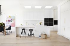 LITTLE WILLOW — Adore Home Magazine All White Kitchen, Open Plan Kitchen, Zen Kitchen, White Kitchens, Kitchen Ideas, Royal Oak Floors, West Elm Dining Table, King Furniture, Diy Blinds