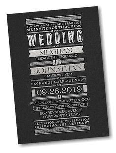 Typography Banner Wedding Invitation