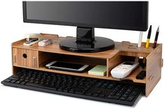 Tonsmile Wood Monitor Stand, Multifunctional Wooden: Amazon.co.uk: Electronics Home Office Setup, Office Desk, Computer Stand For Desk, Pc Table, Printer Stand, Smartphone Holder, Desk Tidy, Monitor Stand, Cable Management