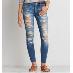 AE Ripped Jeggings I bought these recently and wore them once but they are just a little too big for me. They do stretch and are very comfortable! Unfortunately I threw away the receipt and tags. Still retailing online for $50 so the price is firm! American Eagle Outfitters Jeans Skinny