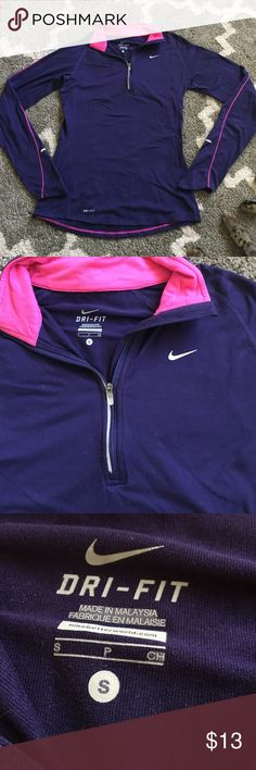 Nike Dri Fit Long Sleeve Quarter Zip S Perfect condition. No holes. No stains. Deep purple color. Pink stitching. Nike Tops Tees - Long Sleeve