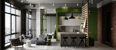 This apartment, designed for a young couple, is a classic industrial loft style but the unique design elements live in the remodeled kitchen. The bright green color and spacious area make it a focal point for the occupants and guests alike. Shelving elements as well as natural wood palettes give it a quirky style that's all its own.