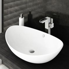 Edge High Rise Waterfall Basin Mixer with Oval Counter Top Basin