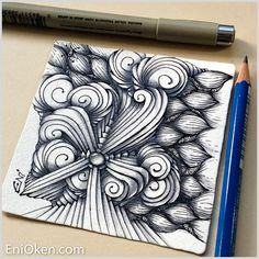 I'm really enjoying Joki tangle (Kim Aarts). This is my second tile playing  with it and the weekly challenge has just started!  I combined it with Arukas (Zentangle, Inc) and African Artist  (deconstructed by Tina Hunziker here).  Here is the partial drawing:  And here is the final line a