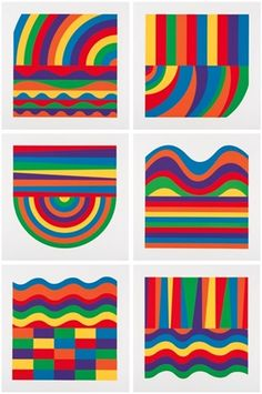 Arcs and Bands in Colors A - F by Sol LeWitt