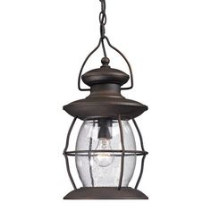 47043/1 | Village Lantern 1 Light Outdoor Pendant In Weathered Charcoal - 47043/1