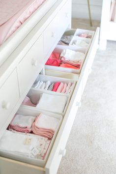 Our beautiful floral nursery that is bright and airy with pops of pink! Baby Emma is here so I'm excited to finally share her nursery reveal! Nursery Drawer Organization, Girls Closet Organization, Organization Ideas, Storage Ideas, Closet Ideas, Baby Girl Closet, Baby Closets, Nursery Dresser, Girl Nursery