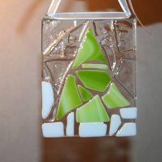 Christmas holiday decoration Green tree suncatcher Fused glass art Cobblestone Collection original hanging Large ornament.. $25.00, via Etsy.