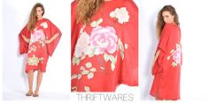 vtg 80s red ORIENTAL FLORAL kimono sleeve SILK boho gypsy festival dress xs-m