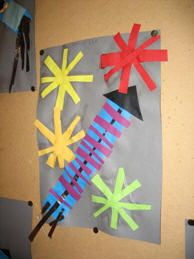 * Cut and paste fire arrows! # Fireworks crafts * Cut and add fire arrows . Fun Crafts To Do, Crafts For Kids, Arts And Crafts, Paper Crafts, Diy Crafts, Fireworks Art, 4th Of July Fireworks, Fourth Of July, Toddlers And Preschoolers