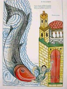 Hortus Deliciarum: Jonah at the gates of Nineveh  Bibliothטque Alsatique du Crיdit Mutuel, Strasbourg  Publication Date: 1167 - 1185