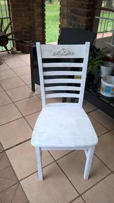 One of the chairs painted in Daisy of Granny B and distressed with Overcast. Embellishment of Onlays & Embellishments fixed.