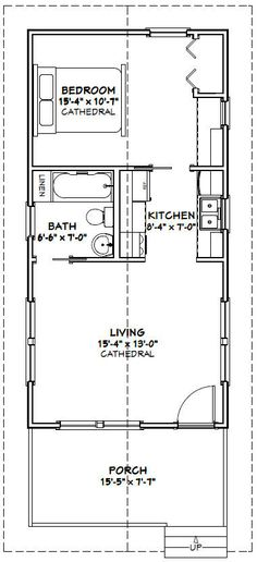 16x32 Tiny Houses 511 sq ft PDF Floor by ExcellentFloorPlans