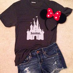 This Home at the Castle outfit with jeans and Minnie Mouse Ears is just precious!