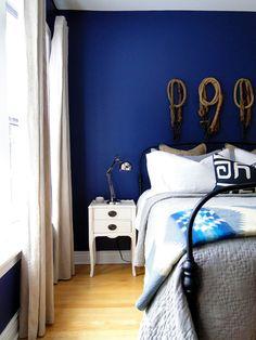 Cobalt blue bedroom wall