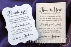 In Lieu of Favors Wedding Favor Donation Cards by marrygrams