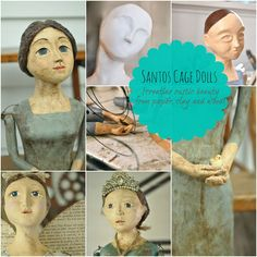 Santos Cage Dolls(creating rustic beauty from paper,clay, and wood.and a giveaway. Learn to make Santos Dolls and enter for a chance to win a spot for you or Mom,or the budding artist in your life! Paper Mache Clay, Paper Mache Crafts, Wire Crafts, Clay Dolls, Art Dolls, Dolls Dolls, Online Art Classes, Doll Painting, Paperclay