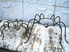 Wrought Iron Spiders - could hold gazing ball, plant pot, interesting rock . . .