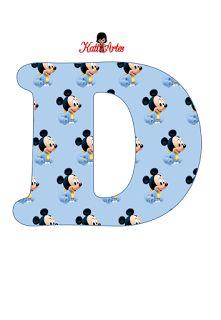 EUGENIA - KATIA ARTES - BLOG DE LETRAS PERSONALIZADAS E ALGUMAS COISINHAS: Alfabeto mickey baby Baby Mickey Mouse, Festa Mickey Baby, Mickey Mouse E Amigos, Mickey Mouse And Friends, Mickey Mouse Party Supplies, Mickey Mouse Birthday Invitations, Alfabeto Disney, Disney Babys, Baby Letters