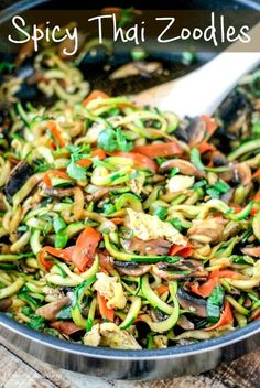 Eat Yourself Skinny with Zoodles! - Let's Do Keto Together! One Pot Spicy Thai Zoodles are the perfect healthy meal! Substitute zucchini noodles for pasta for only 162 calories PER SERVING! So amazing! Veggie Recipes, Asian Recipes, Cooking Recipes, Healthy Recipes, Healthy Meals, Vegan Zoodle Recipes, Zucchini Noodle Recipes, Vegetarian Zucchini Recipes, Vegetarian Appetizers