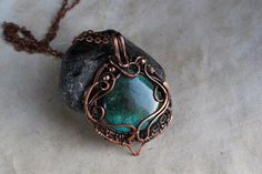 Chrysocolla  pendant Wire wrap jewelry handmade #jewelry #necklace @EtsyMktgTool #chrysocollapendant #wirewrapjewelry #handmadejewelry