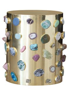 KELLY WEARSTLER   BEJEWELED STOOL. Custom made, one of a kind Burnished bronze stool with hand selected semi precious stones and gems