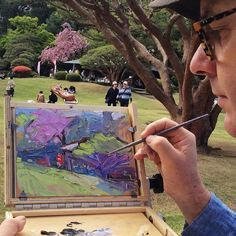 Richard Claremont #Art in #Japan - Shinjuku Garden - #Landscape #Oil #Paintings for Sale
