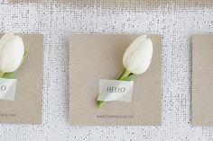 White tulip escort cards Tulip wedding inspiration, just in time for spring! via @weddingpartyapp