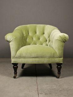 kirby chair   RedInFred velvet, tufted, lime sherbet accent chair