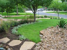 Concrete Patio River Rock Border With Drainage And Lawn