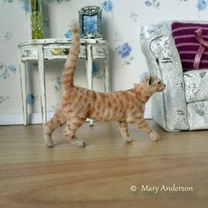 1:12 OOAK Realistic Handmade Ginger Tabby Cat Kitten Mary Anderson Miniature