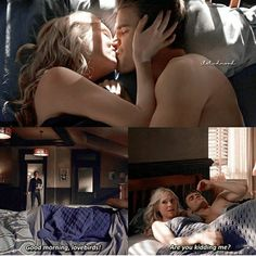 This is pretty much the exact same scene as in the first season when Stefan and Elena are laying in bed with each other and Damon came and walked in😂😂 Ian Somerhalder Vampire Diaries, Vampire Diaries Stefan, Vampire Diaries Funny, Vampire Diaries Cast, Vampire Diaries The Originals, Stefan E Caroline, Caroline Forbes, Damon Salvatore, The Cw
